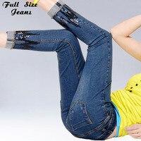 Artı Boyutu Yüksek Bel Pullu Ayak Bileği Uzunluk Skinny Jeans Xs 4Xl 6Xl Dantel Denim Kırpılmış Jean Femme Kalem Pantolon Kadın Kot Pantolon