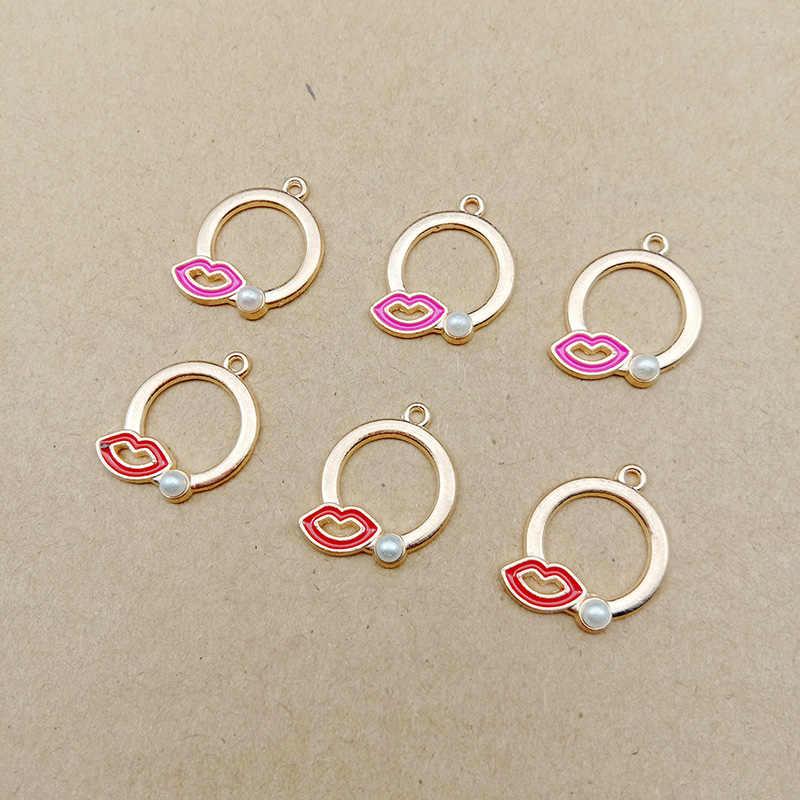 10 piezas Sexy labios rojos colgante perla esmalte coreano encantos DIY señora chica joyería accesorios para collar hecho a mano llaveros YZ358