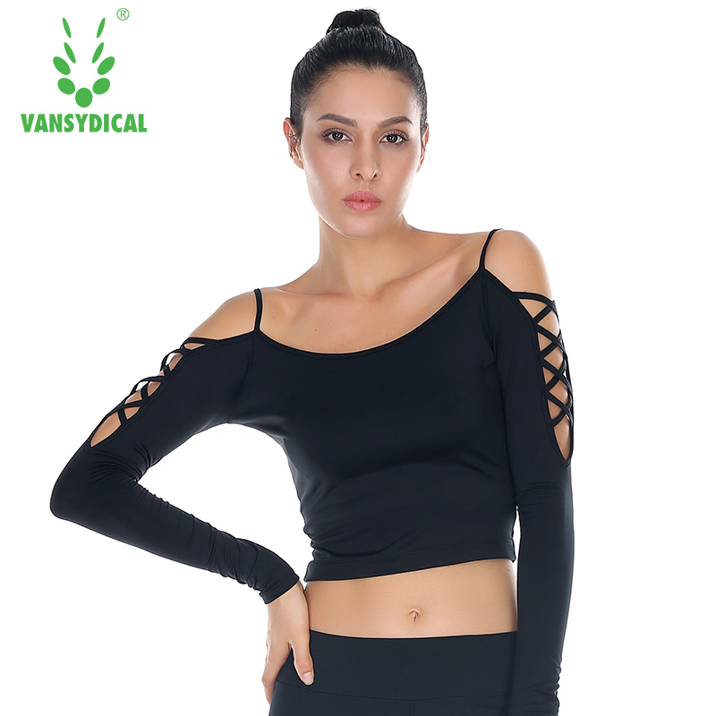 Vansydical Sexy Crossed Strip Yoga T-shirts Women Quick Dry Black Fitness Sports Shirts for Gym Running Female Sportswear Cool