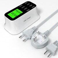 New Phổ 8 Cổng USB Thông Minh LED Màn Hình Hiển Thị MỸ EU ANH cắm Travel AC Power Adapter Ổ Cắm Tường Charger Cho Điện Thoại Di Động Tabl