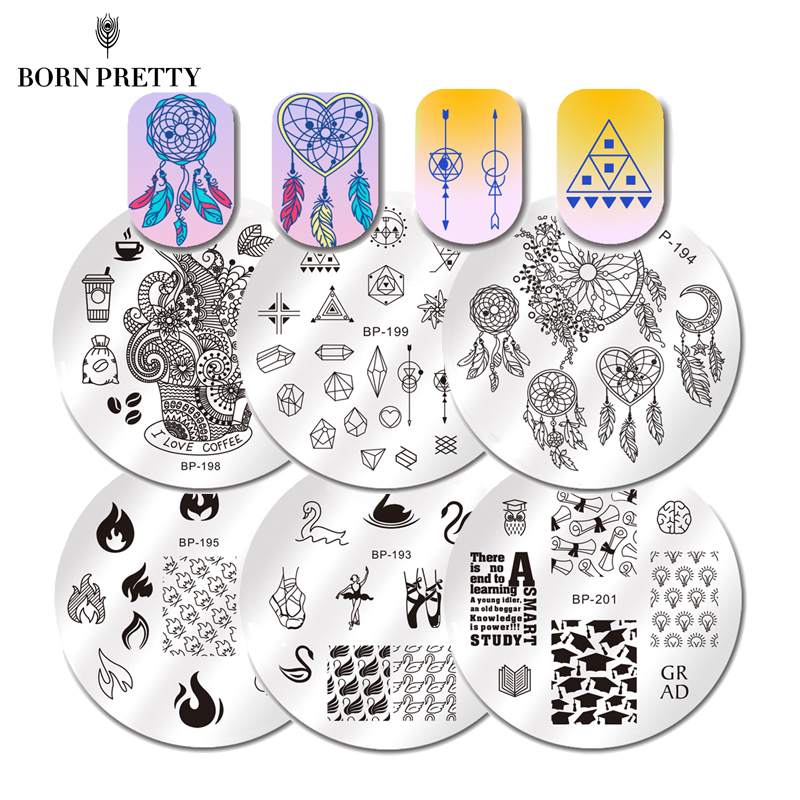 BORN PRETTY Round Nail Stamping Plate Geometry Catcher Feather Ballet Swan Dream Flame Flower Manicure Nail