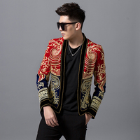 Luxury Baroque Color Block Blazer Men Heavy Wormnanship Embroider And Beads Stage Costumes For Singer DJ Party Club Outfit