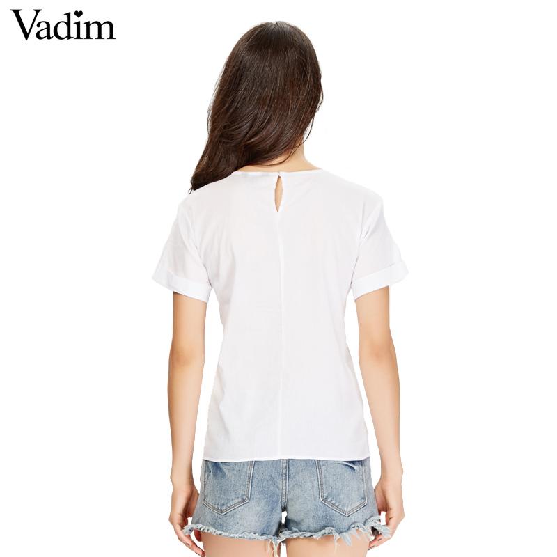 HTB1yLliSVXXXXbyXpXXq6xXFXXXJ - women sweet lace up shirt short sleeve o neck black