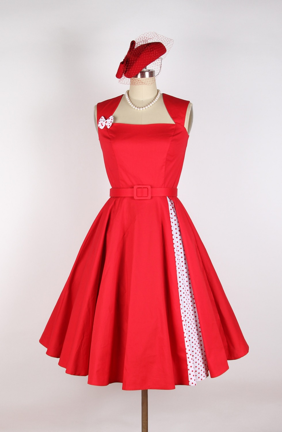 Buy Red Rose With Polka Dot 50s 60s Rockabilly Flower Pattern Print 100 Retro