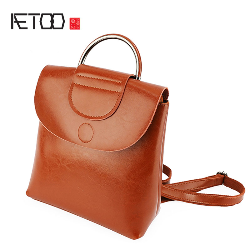 AETOO Original new European and American retro style simple leather shoulder bag portable leisure with a backpack female