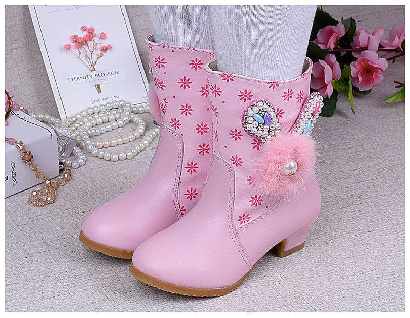 Модні дівчата Короткі черевики Дитячі шкіряні на високих підборах ... dd577fb30ef45
