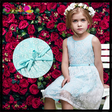 New light blue girls lace dress little girl party dress top selling fancy embroidery snow flower