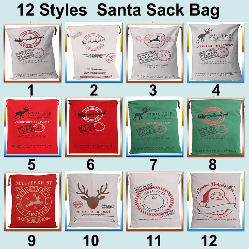50pcs lot Christmas Gift Bag Drawstring Canvas Santa Sack Vintage Christmas Stocking Bag Decoration 12 Styles