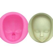 M929 DIY девушка лицо силиконовые формы помадка формы украшения торта инструменты женщина маска Gumpaste Плесень Полимерная глина смолы формы
