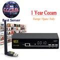 V8 Super Receptor de Satélite Freesat HD + 1 Ano Cccam Servidor + USB Wi-fi Apoio IPTV DVB-S2 Biss Chave Completa 1080 P Europa Cccam Cline