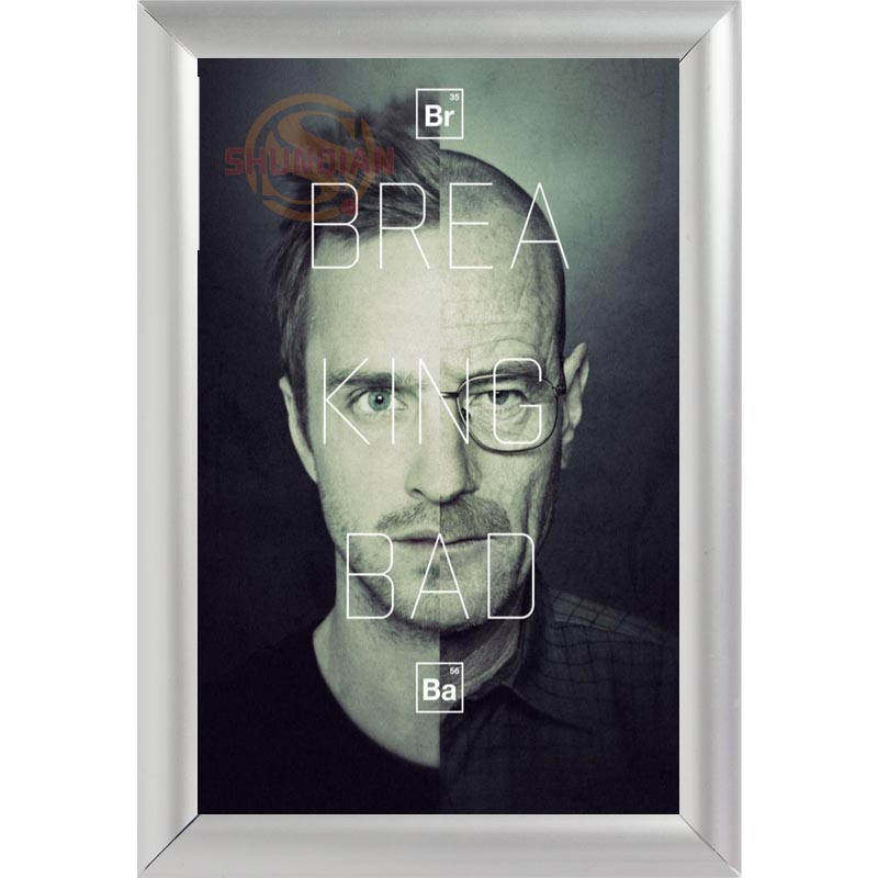 silver color aluminum alloy poster frame home decor custom canvas frame breaking bad 01 canvas poster