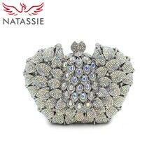 NATASSIE Neue ankunft mode Kristall Kupplungen Abendtasche Frauen Hochzeit Handtasche Doppelseitige Voller Diamanten
