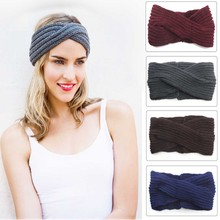 Women Knit Headband Crochet Twist Stretch Wool Hair Accessories Head Wrap Girl Band