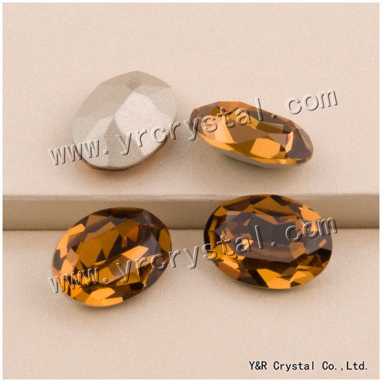 #4120 10*14mm 13*18mm 18*25mm Lt.Smoked Topaz Oval Crystal Fancy Strass Shiny Rhinestone Pointback For Clothing Accessories 10 18