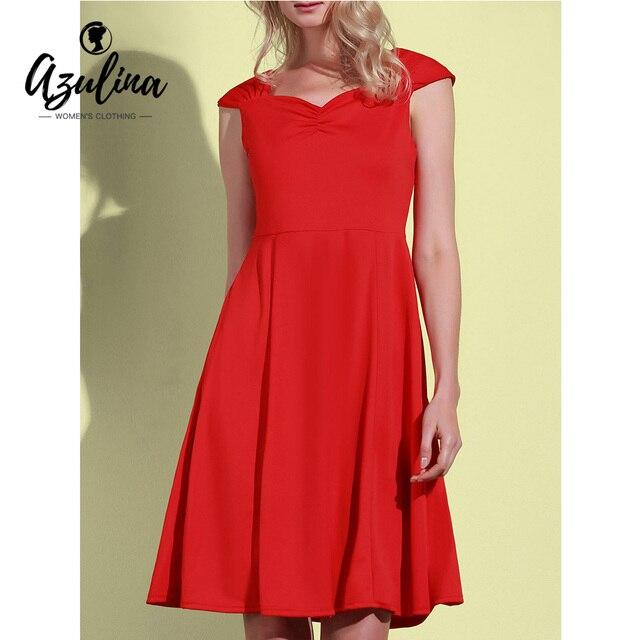 AZULINA 2017 Neue Sommer Vintage Kleider Frauen Roten Farbe Reich ...