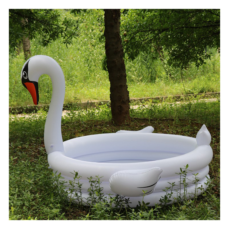 150cm Air Inflation White swan infant Swimming pool Bright-colored Design eco-friendly PVC material baby Swimming bath pool