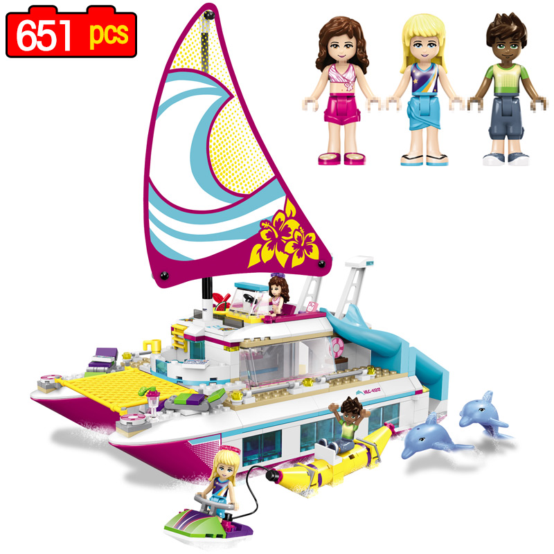 651pcs Girl Friends Princess Building Block Pleasure Boat Model Compatible legoINGLY Friends Toys for Girls Christmas Gifts