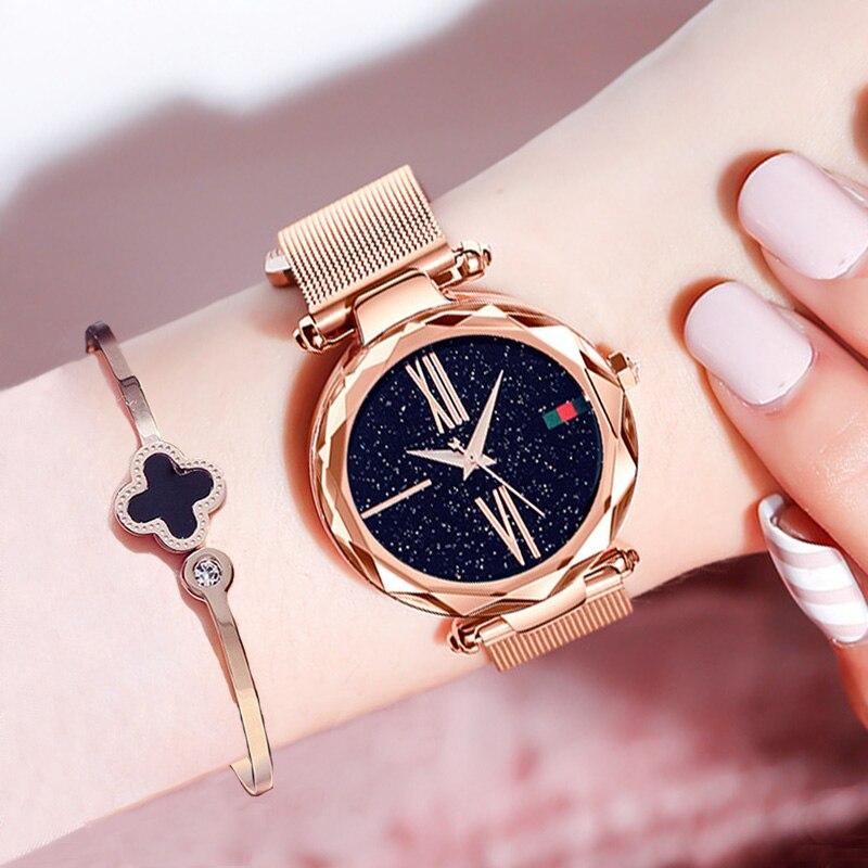 Oro rosa de lujo relojes de mujer minimalismo cielo estrellado cielo imán hebilla de moda Casual femenina reloj impermeable de Roman Numeral