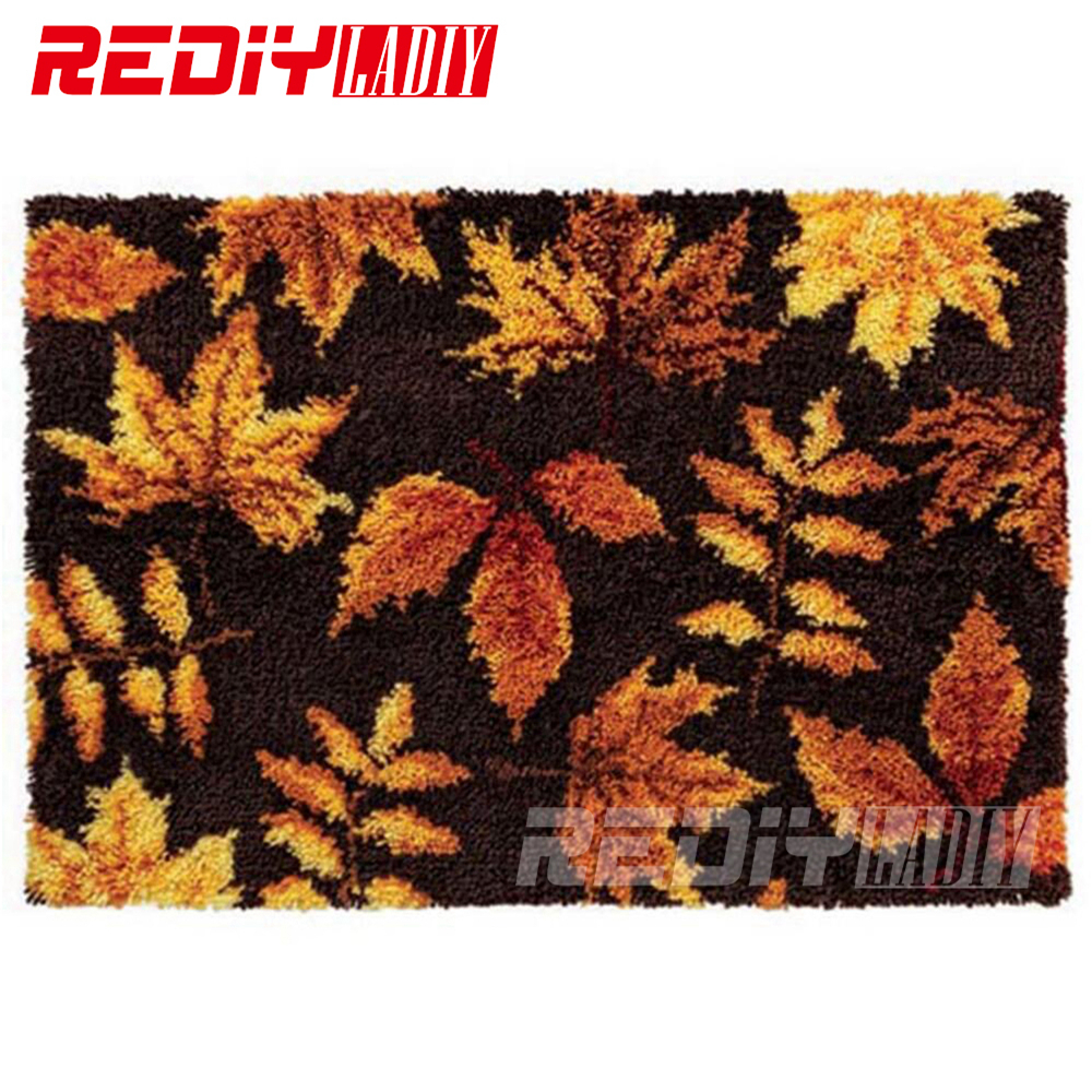 REDIY LADIY Latch Hook Rug Floor Mat Wall Tapestry Pre Printed Canvas Scenic 3D Yarn Embroidery