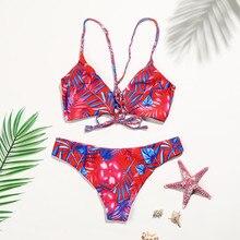 54c409782eb33 Women Sexy Halter Low Waist Swimwear Hand Made Bandage Bikini Set Push-up  Padded Bra