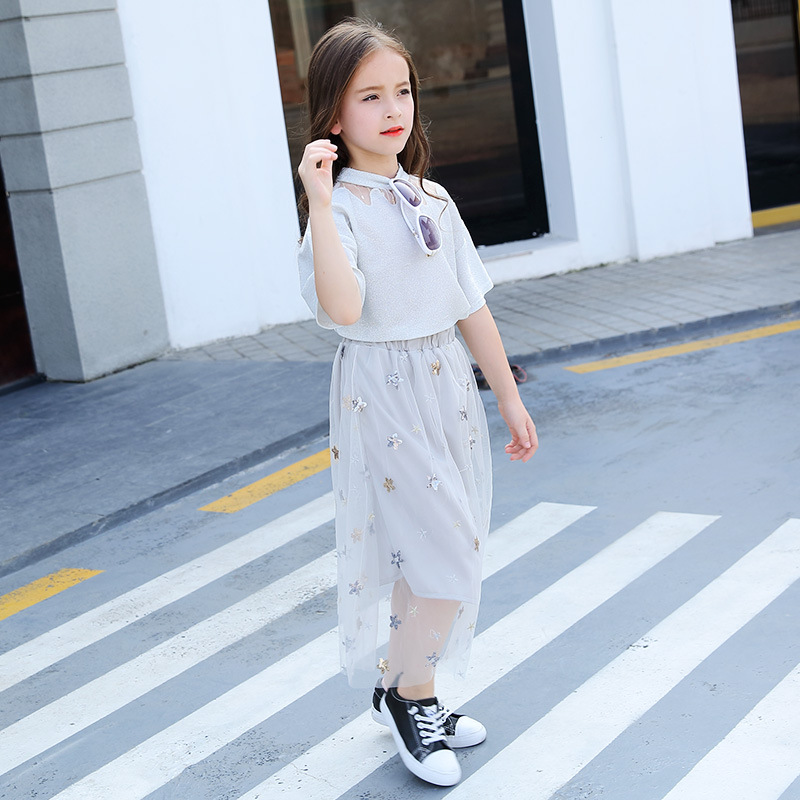 New Children Clothing Sets For Girls T-Shirts & Long Skirts 2Pcs Summer Girls Outfits 4 6 8 10 12 14 16 years old School Suits garyduck girls clothing sets kids knitted suits long sleeve houndstooth tops skirts 2pcs for girls suits