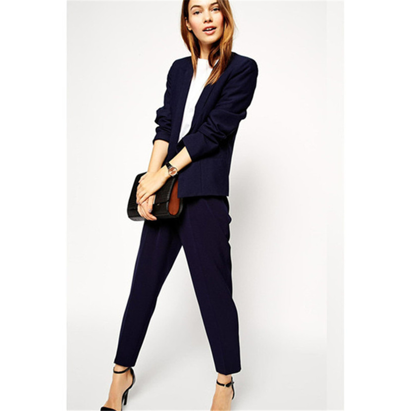 Intelligent Autumn New Arrival Women Elegant Custom Made Royal Blue Office Suit Business Casual Work Solid Slim Suits Beneficial To Essential Medulla