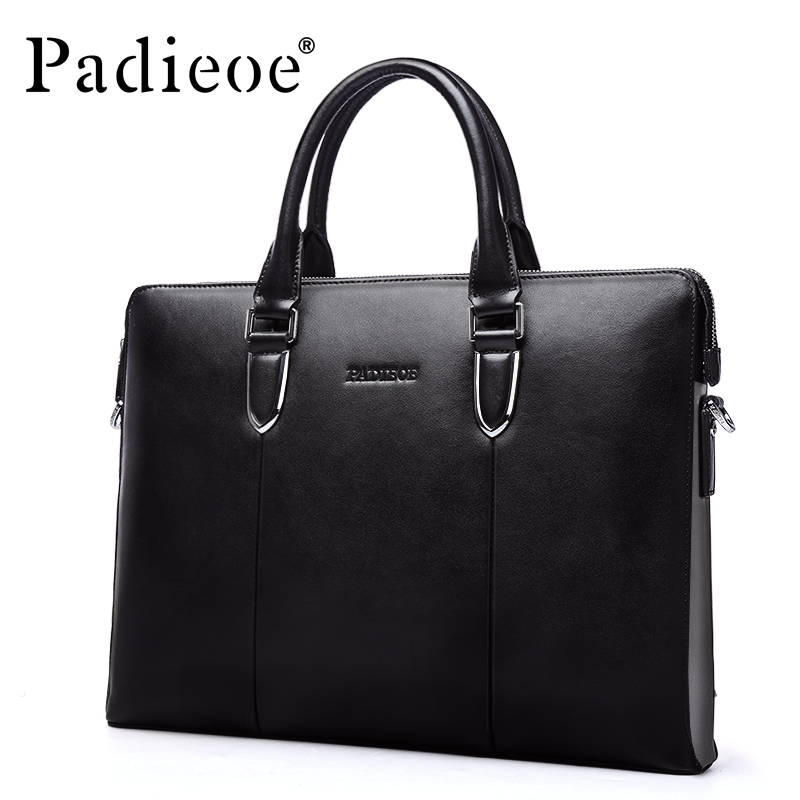 Padieoe Latest Arrival Men's Genuine Leather Fashion Briefcase 14″ Laptop Bag Italian Leather Messenger Bags For Male