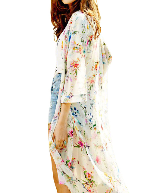 08dc2685ebe Plus Size Women Boho Chiffon Kimono Cardigan Cape Bikini Cover Up Floral  Long Jacket Beach Robe