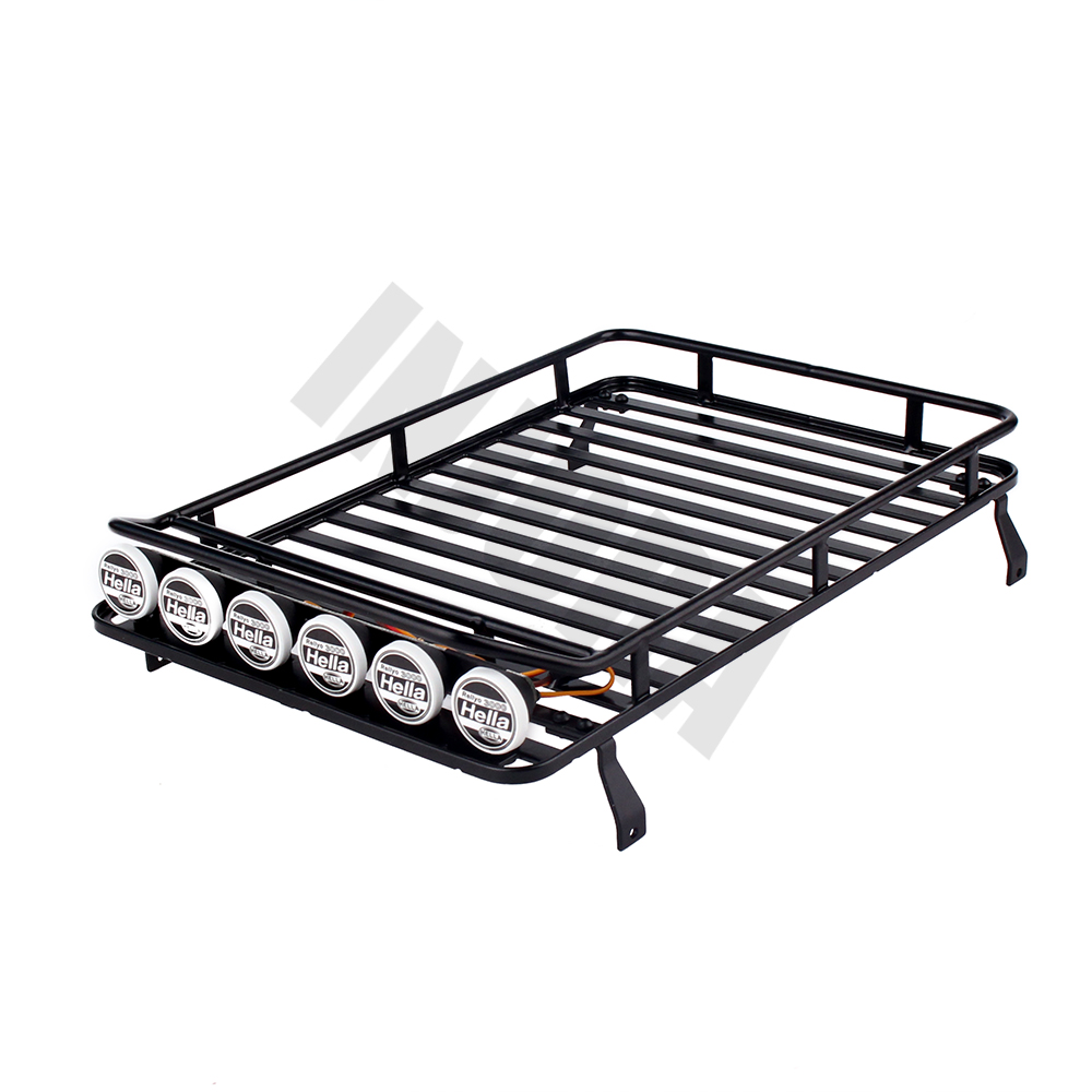 INJORA 238*156mm Metal Roof Rack Luggage Carrier & LED Light for 1/10 RC Crawler Axial SCX10 Jeep 90046 RC4WD D90 Land Rover teaegg top roof rack side rails luggage carrier for hyundai tucson ix35 2010 2014