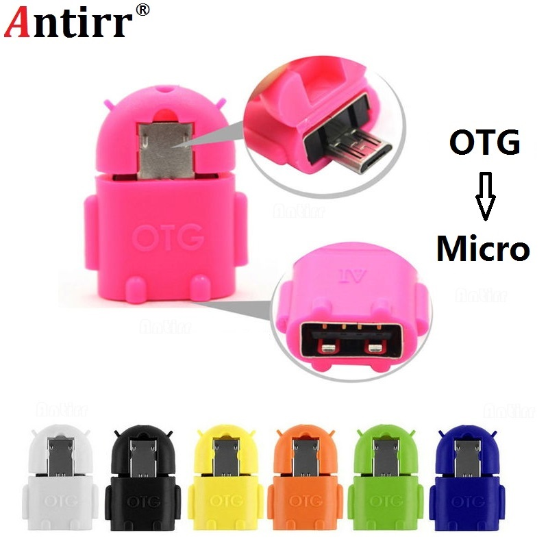 Mini Robot Shape Android Micro USB To USB 2.0 Converter USB OTG Cable Adapter For Tablet PC For Samsung Galaxy S3 S4 S5 Xiaomi