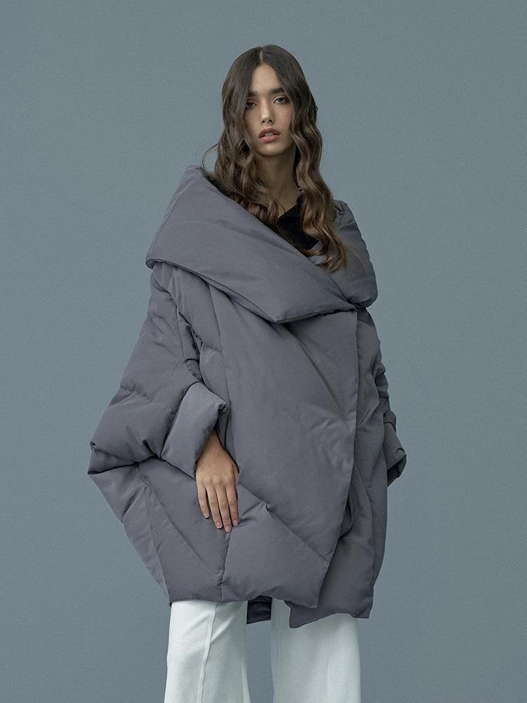 LYNETTE'S CHINOISERIE Winter Original Design Women Brief Loose Cool Warm 90% White Duck   Down     Coat   Jackets Outerwear