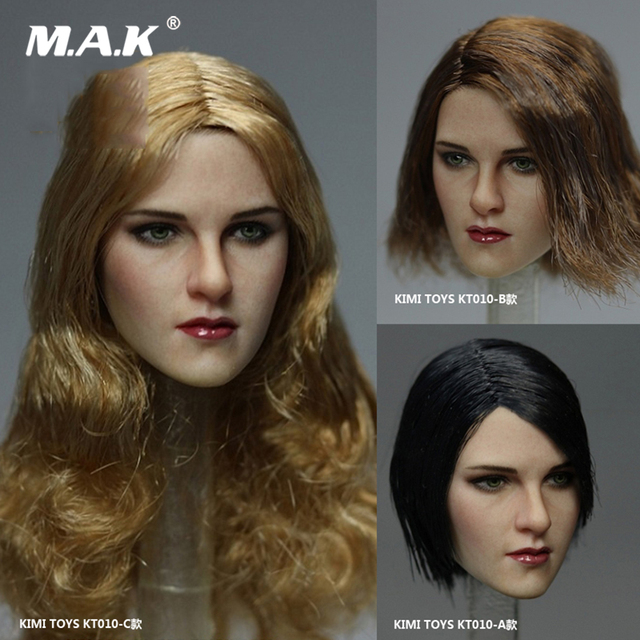 KT010-A/B/C 1/6 Scale Female Head Sculpt Model With Black/Gold Hair for 12'' lady Figures Body