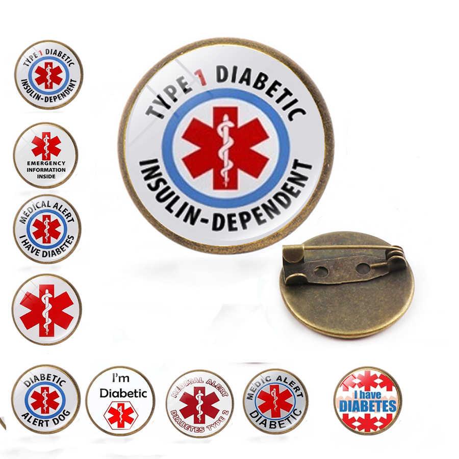 糖尿病医療アラートブローチとピン糖尿病医療アラート ID ピン医療アラート聴診器乳がん自閉症ブローチ
