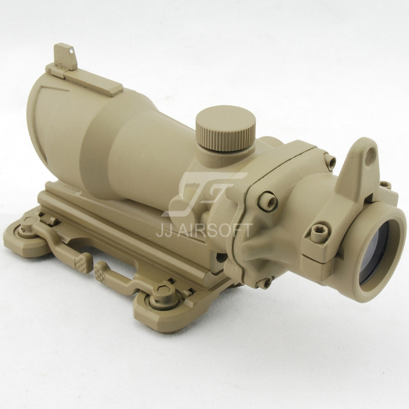 JJ Airsoft ACOG Style 4x32 Scope with QD Mount (Tan) FREE SHIPPING(ePacket/HongKong Post Air Mail) jj airsoft acog style 4x32 scope with qd mount with killflash kill flash tan free shipping epacket hongkong post air mail