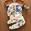 2 шт. спортивный костюм 2016 осень baby boy девушки одежда Давно рукава Топ + брюки ребенка Печати комплект одежды новорожденного одежда