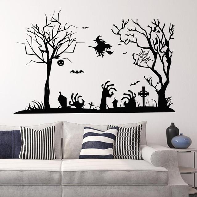 Sfondi di Halloween 3D Zucca Scheletro Strega Scopa Wall Stickers ...