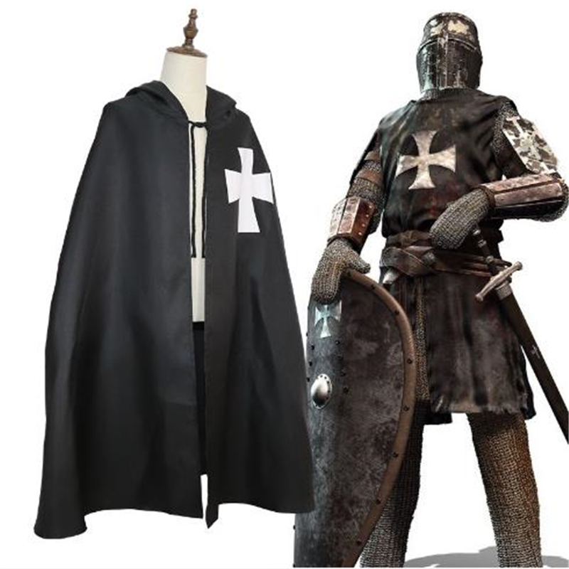 Halloween Medieval Warrior Cosplay Cloak Roman Empire Templar Cloak Robe Men and Women Applicable ...