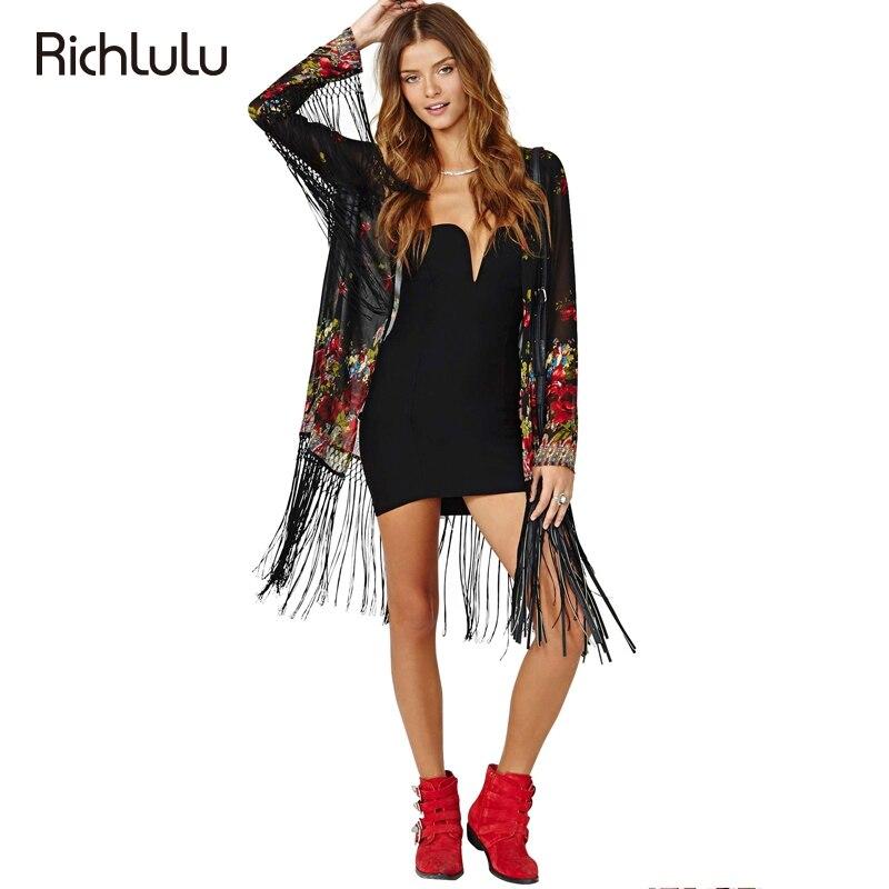 Richlulu Black Floral Printed Blouse Shirt Women Deep V