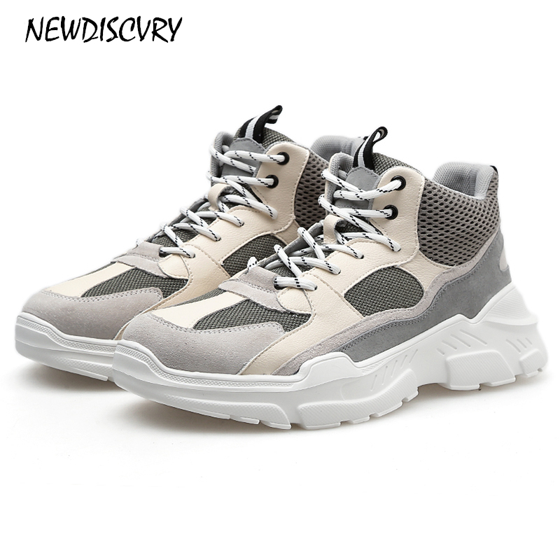 Plate Chunky Sneakers Mode Newdiscvry Red Chaussures Casual En Blanc Véritable Cuir Maille 2018 black forme marron Noir Homme Hommes Unique Papa OPXiuwkZT