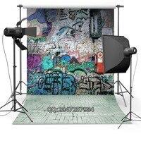 Street Bricks Pavement Sidewalk Colors Graffiti Doodles Wall Custom Photo Backdrops Studio Backgrounds Vinyl F 2435