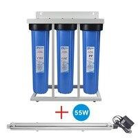 Высокое качество! 3 этап весь дом Системы с 55 Вт УФ ультрафиолетовый стерилизатор 12 л/мин для песка, частиц, грязь, запах и бактерий