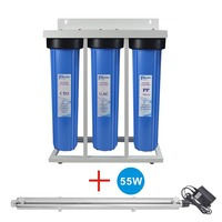Premium Quality! 3 Stage Whole House System with 55W UV Ultraviolet Sterilizer 12 GPM for Sand, Particles, dirt, odor& Bacteria