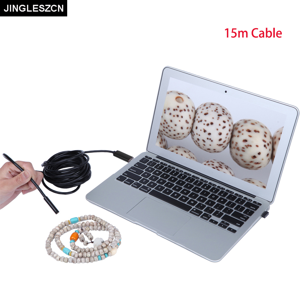 JINGLESZCN USB Endoscope 15m Length Mini Camera 10mm Lens Waterproof IP67 Borescope Inspection 4 LED Snake Video Cam Windows PC