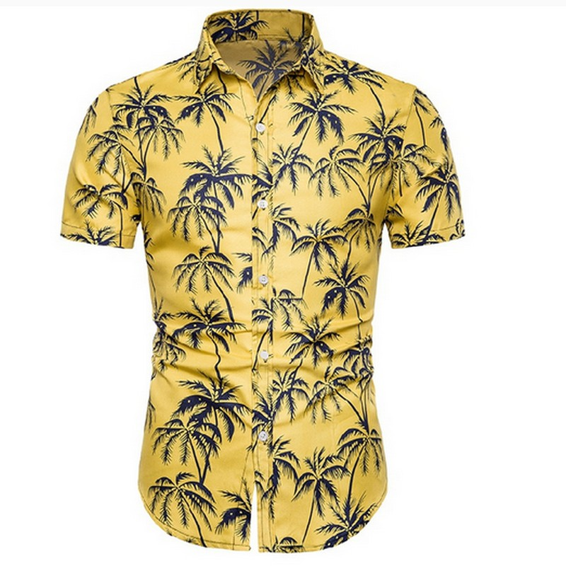 Summer Loose Hawaiian Print Shirt Men's Casual Short Sleeve Tops Fashionable Oversized Streetwear S-2xl