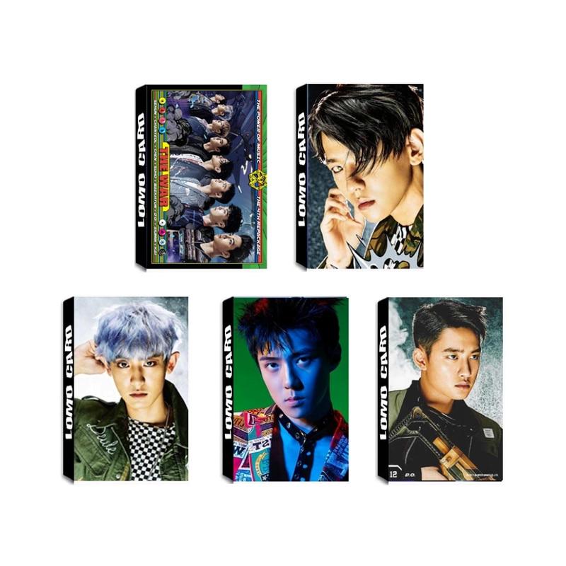 Youpop KPOP EXO The War The Power of Music Album LOMO Cards K-POP New Fashion Self Made Paper Photo Card HD Photocard LK513