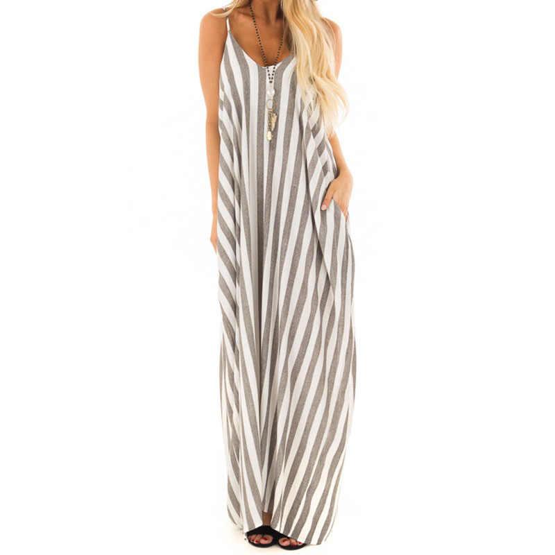 dc6fa6b98b0 Bohemian Maxi Dress Summer 2018 Women Sexy V Neck Strap Sundress Beach  Striped Long Dresses Female