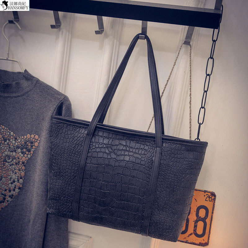 HANSOMFY  2015 New Winter Bag Black Simple All Match Crocodile Bag Fashion Leisure Portable Shoulder