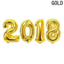 4pcs/lot number  2018 Gold/silver 16inch balloon foil ballon party decoration Celebration supplies