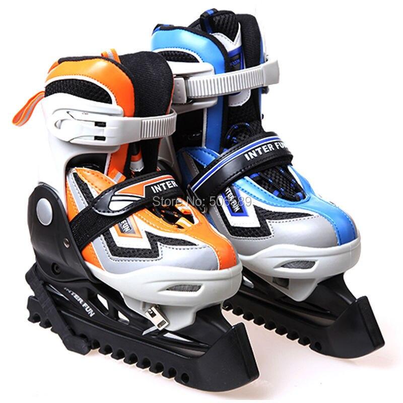 free shipping ice skate shoes children blue color orange color size adjustable ...