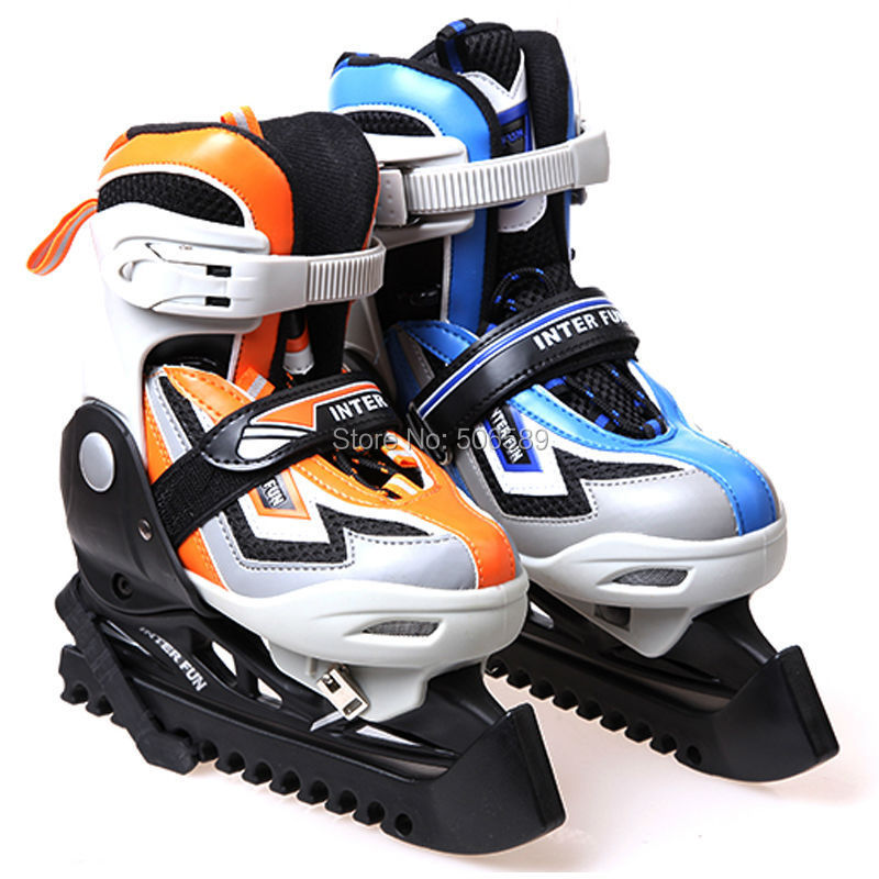 free shipping ice skate shoes children blue color orange color size adjustable цена 2017